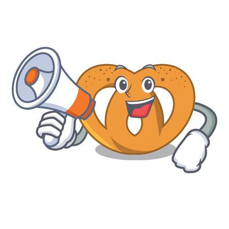 With megaphone pretzel character cartoon style vector illustration