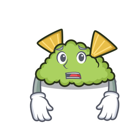 Afraid guacamole mascot cartoon style