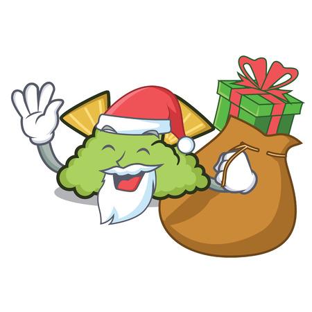 Santa with gift guacamole mascot cartoon style