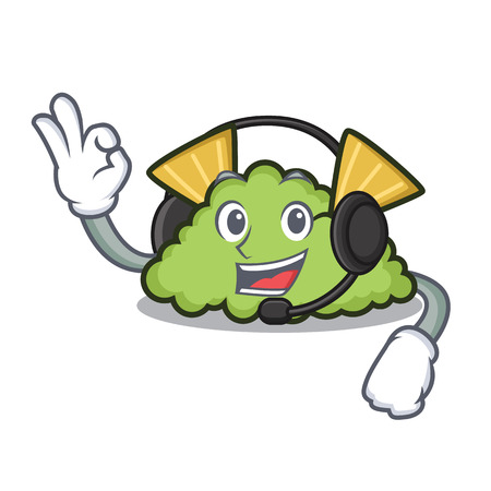 With headphone guacamole mascot cartoon style