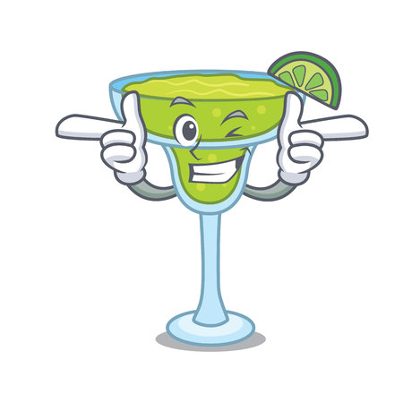 Wink margarita character cartoon style vector illustration