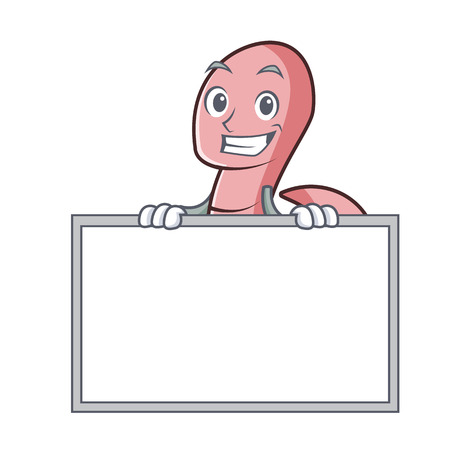 Grinning with board worm character cartoon style.