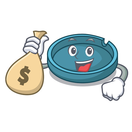 With money bag ashtray character cartoon style vector illustration Illustration
