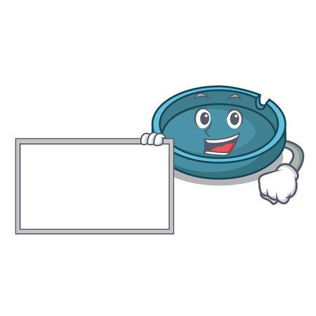 With board ashtray character cartoon style vector illustration