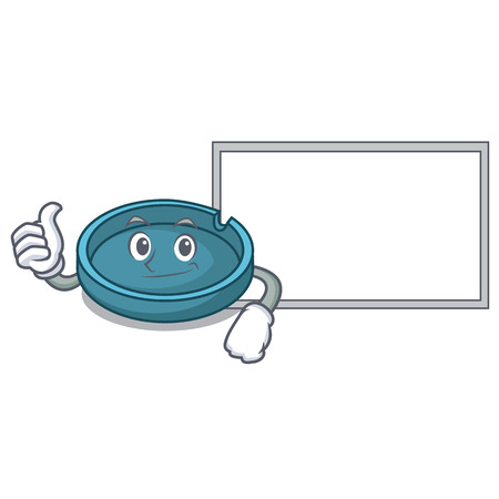 Thumbs up with board ashtray character cartoon style vector illustration