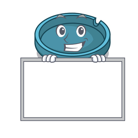 Grinning with board ashtray character cartoon style vector illustration