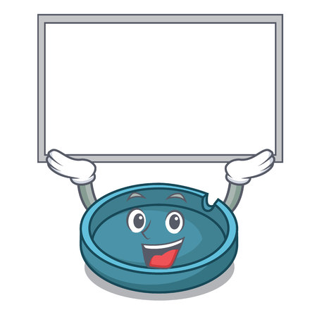 Up board ashtray character cartoon style vector illustration