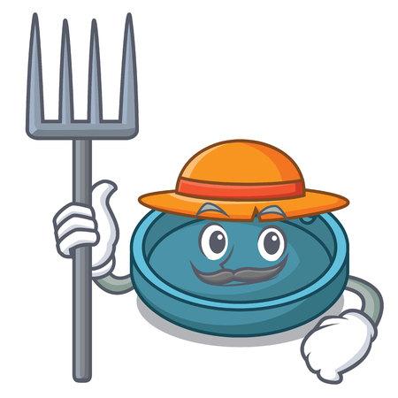 Farmer ashtray character cartoon style vector illustration Illustration