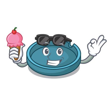 With ice cream ashtray character cartoon style vector illustration