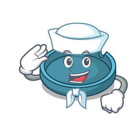 Sailor ashtray character cartoon style vector illustration