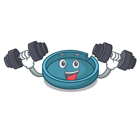 Fitness ashtray character cartoon style vector illustration
