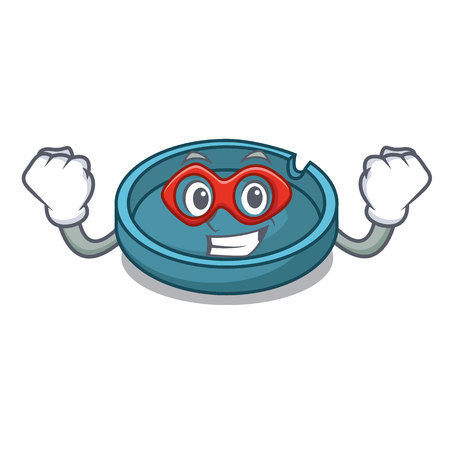 Super hero ashtray character cartoon style vector illustration