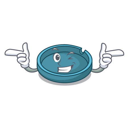 Wink ashtray character cartoon style vector illustration Illustration