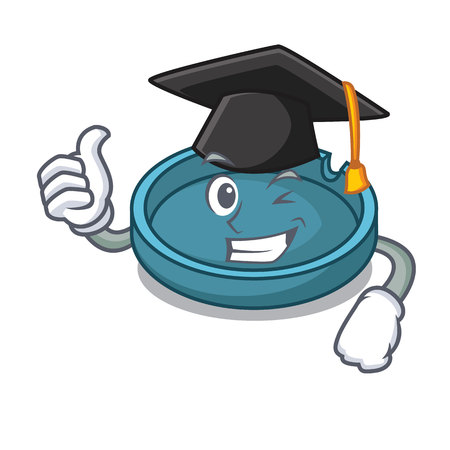 Graduation ashtray character cartoon style vector illustration Ilustrace