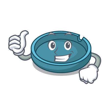 Thumbs up ashtray character cartoon style vector illustration Vectores