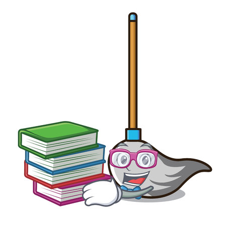 Student with book mop mascot cartoon style vector illustration