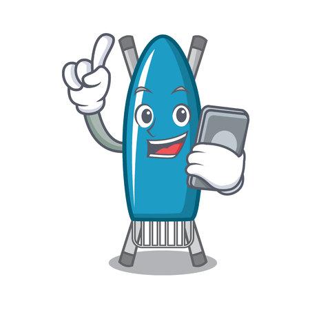 With phone iron board character cartoon