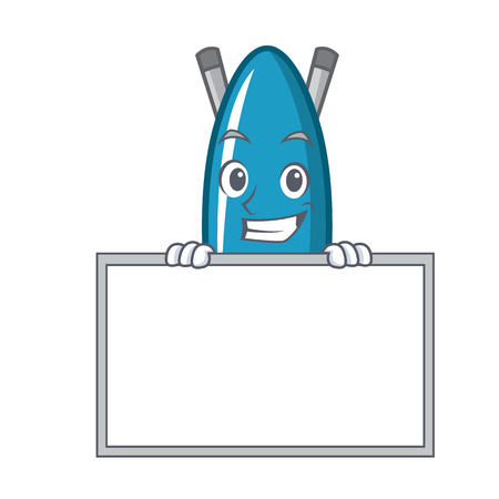 Grinning with board iron board character cartoon vector illustration