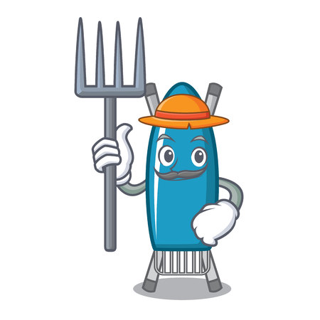 Farmer iron board character cartoon vector illustration Illustration
