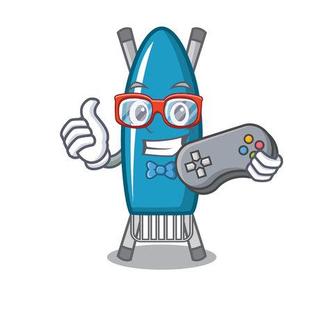 Gamer iron board mascot cartoon vector illustration Illustration