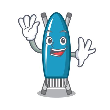 Waving iron board character cartoon vector illustration
