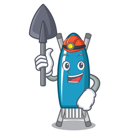 Miner iron board mascot cartoon Illustration