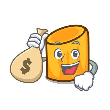 With money bag rigatoni character cartoon style Vettoriali