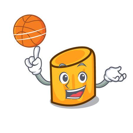 With basketball rigatoni character cartoon style Çizim