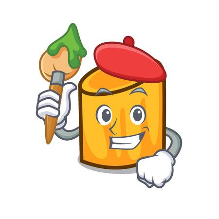 Artist rigatoni character cartoon style vector illustration