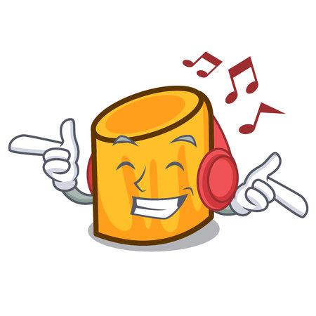 Listening music rigatoni mascot cartoon style vector illustration