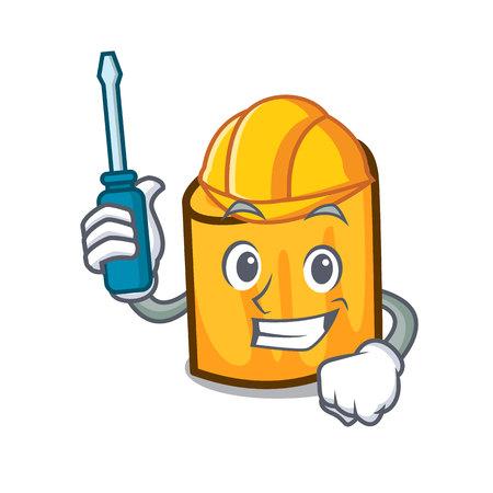 Automotive rigatoni mascot cartoon style vector illustration