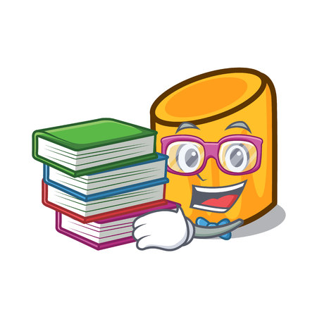 Student with book rigatoni mascot cartoon style vector illustration