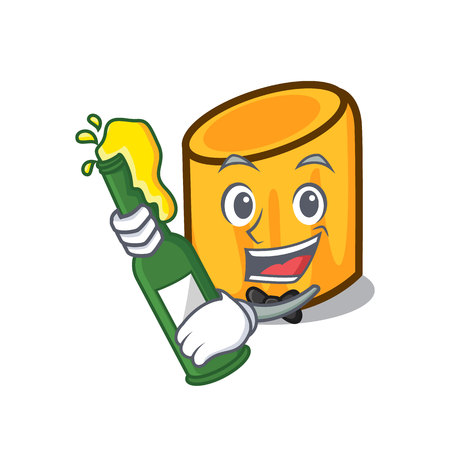With beer rigatoni mascot cartoon style vector illustration