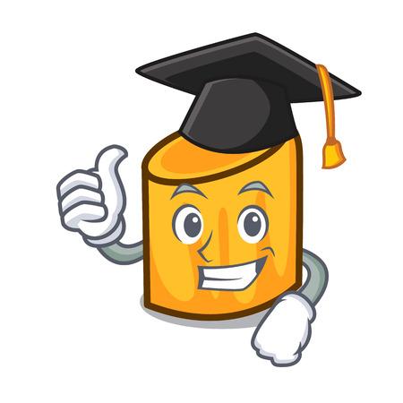 Graduation rigatoni character cartoon style vector illustration
