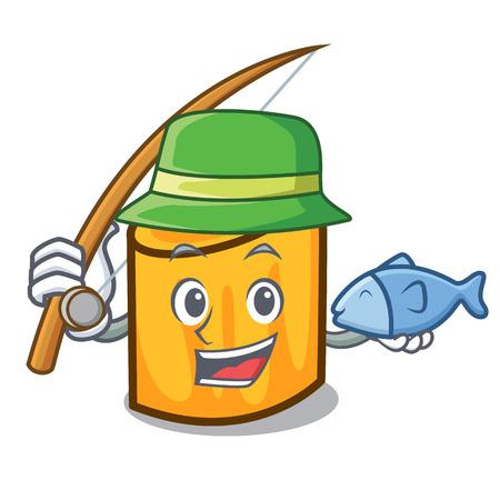 Fishing rigatoni mascot cartoon style vector illustration