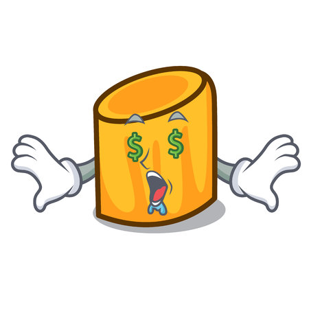 Money eye rigatoni mascot cartoon style vector illustration