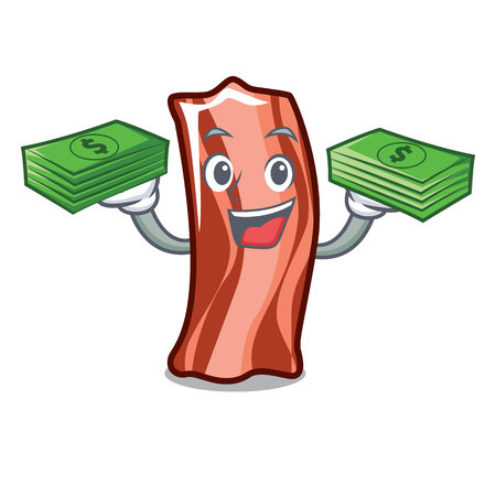 With money bag ribs mascot cartoon style