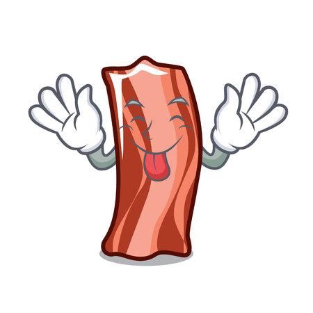 Tongue out ribs mascot cartoon style vector illustration
