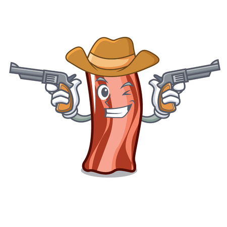 Cowboy ribs character cartoon style vector illustration