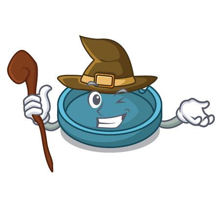 Witch ashtray mascot cartoon style Illustration