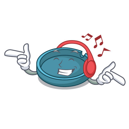 Listening music ashtray mascot cartoon style