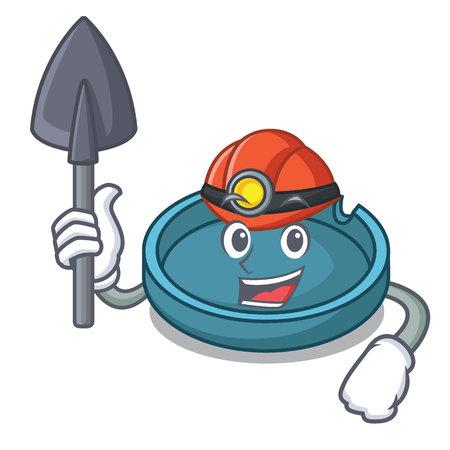 Miner ashtray mascot cartoon style Vettoriali