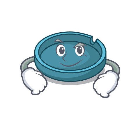 Smirking ashtray character cartoon style