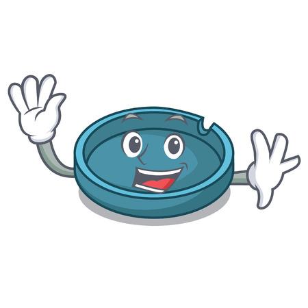 Waving ashtray character cartoon style