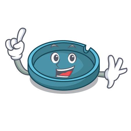 Finger ashtray mascot cartoon style Illustration