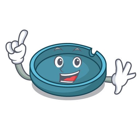 Finger ashtray mascot cartoon style Ilustrace