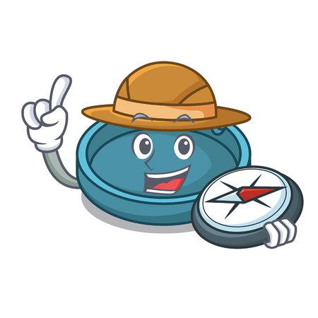 Explorer ashtray mascot cartoon style