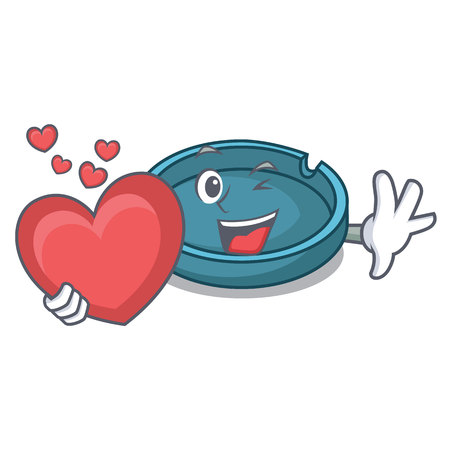 With heart ashtray mascot cartoon style