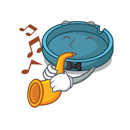 With trumpet ashtray mascot cartoon style