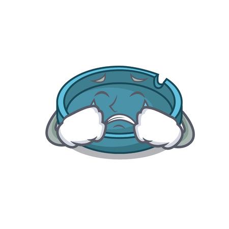 Crying ashtray mascot cartoon style Illustration